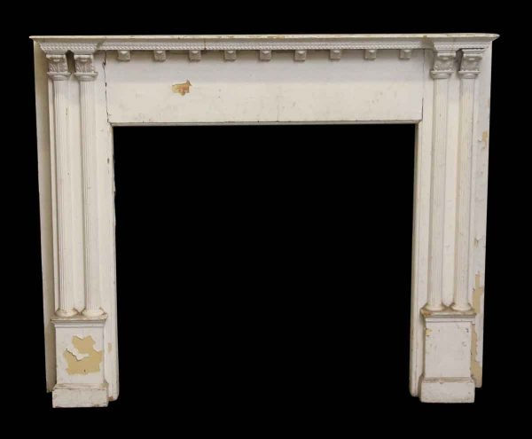 Carved Graduated Shelf Wooden Mantel with Corbel Detail - Mantels