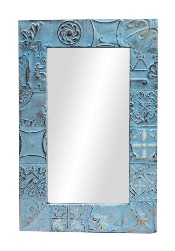 Blue Mixed Patch Pattern Mirror - Antique Tin Mirrors