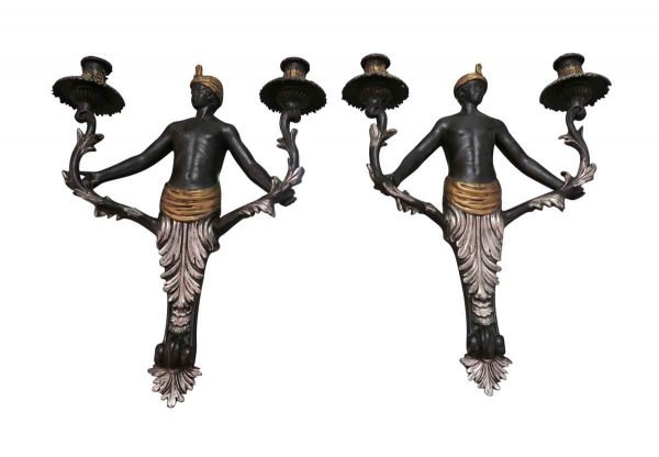 Pair of Blackamore Wall Sconces - Sconces & Wall Lighting
