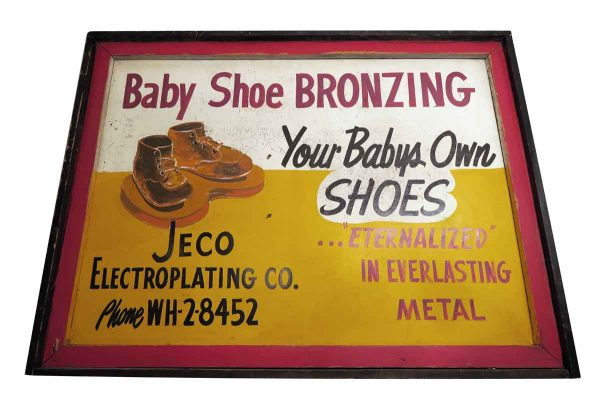 Double Sided Baby Shoe Bronzing Sign - Vintage Signs