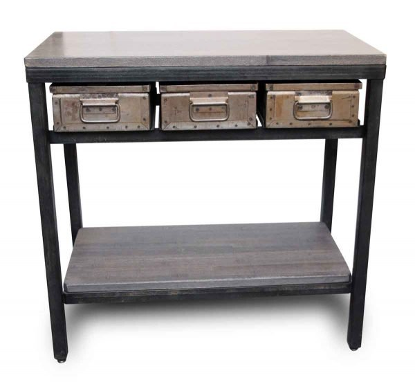 Console Table with Three Metal Drawers - Altered Antiques