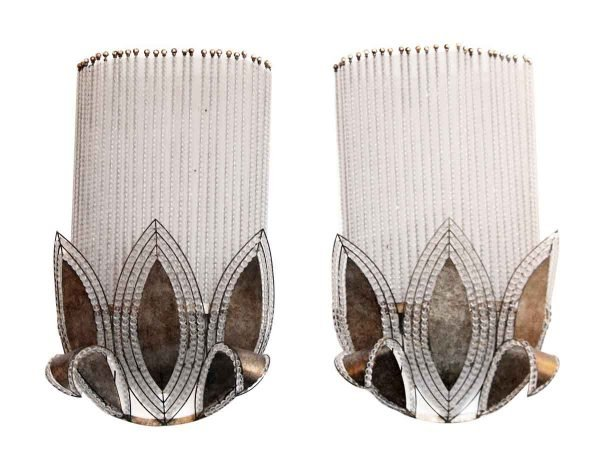 Pair of Beaded Art Deco Wall Sconces - Sconces & Wall Lighting