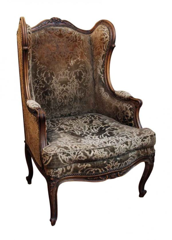 Bergere Chair with Floral Carved Wood Frame - Living Room