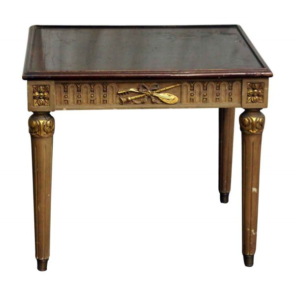 Decorative Wooden Side Table with Carved Details - Living Room