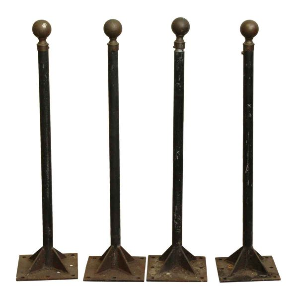 Set of Four Stanchions with Round Brass Finials - Commercial Furniture