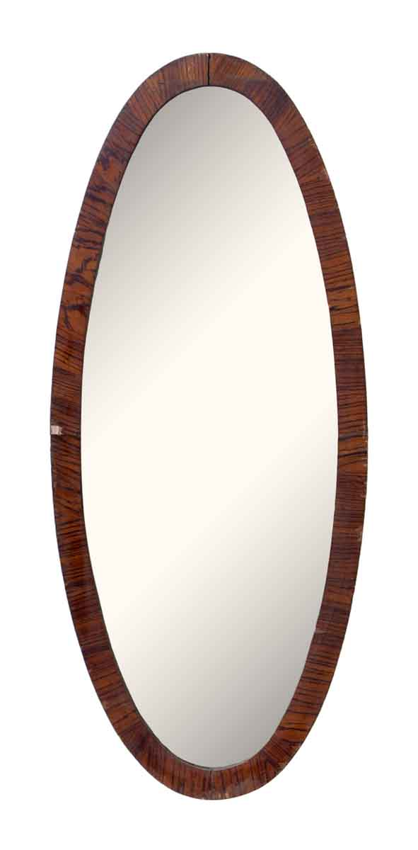 Long Oval Wood Framed Mirror - Antique Mirrors