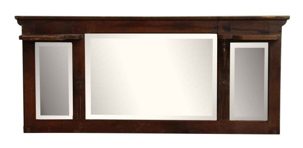 Wood Dresser Top With Beveled Mirrors - Overmantels & Mirrors