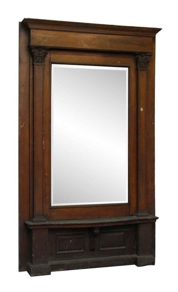 Wooden Pier Mantel with Beveled Mirror - Antique Mirrors
