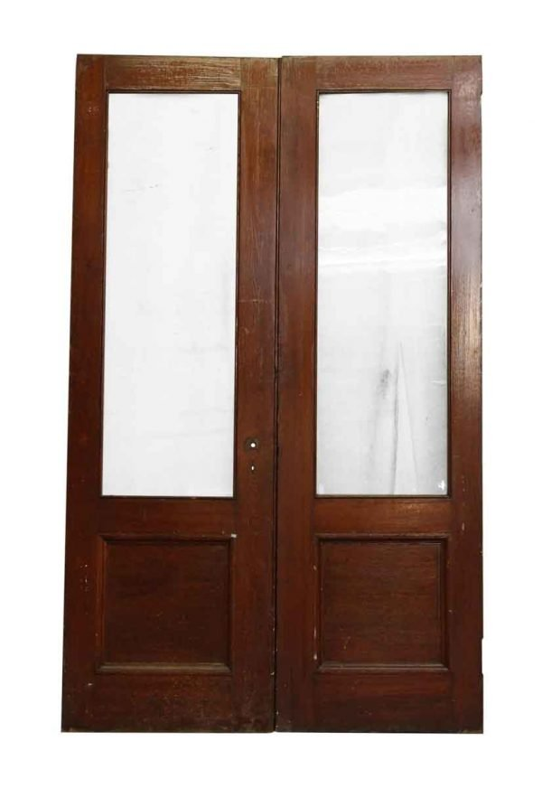 Pair of Dark Wooden Doors with Glass Panel - Entry Doors