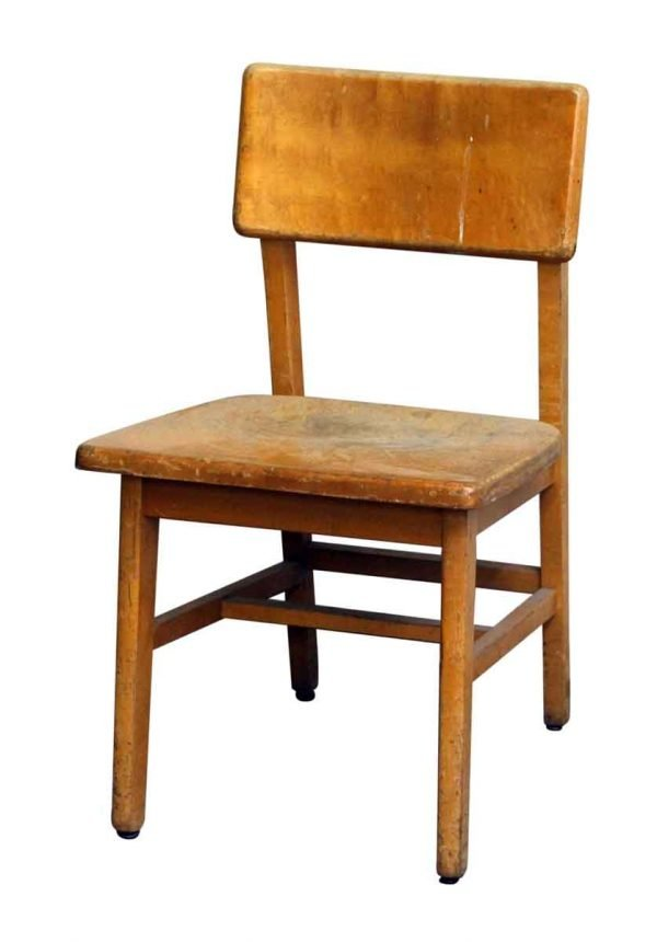Old Wooden School Chair with Wide Seat - Seating