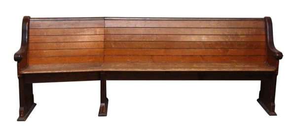 Slanted Wooden Pew - Religious Antiques