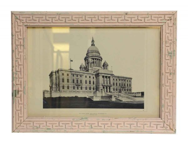 Rhode Island Capitol Photo with Greek Key Frame - Photographs
