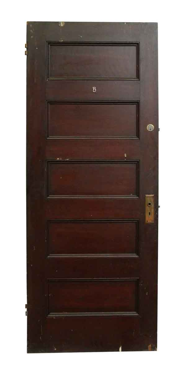 Wooden Dark Five Panel Door - Standard Doors