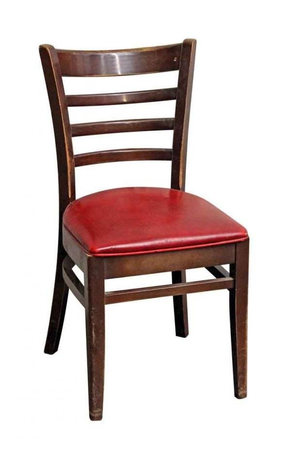 Dark Wood Tone Red Seated Chair - Seating