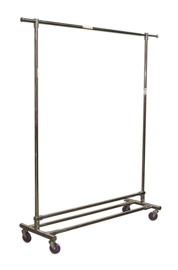 Steel Retail Clothing Rack with Purple Wheels - Commercial Furniture