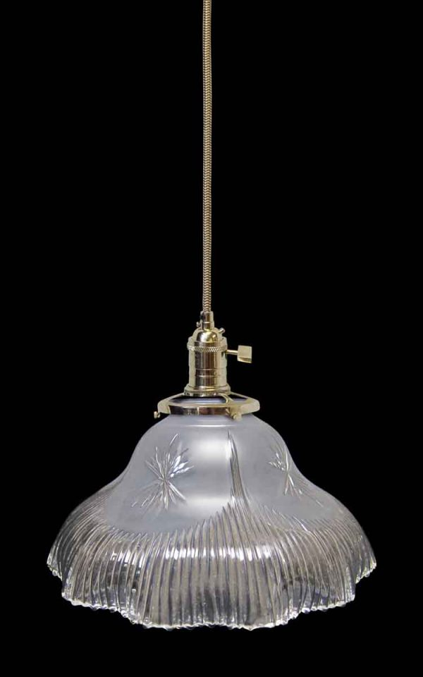 Antique 8 in. Glass Holophane Pendant with Special Etching