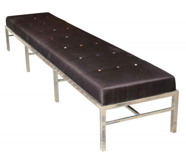 Oversized Bench with Brown Satin Cushion - Seating
