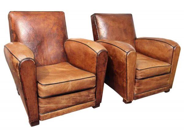 Pair of Leather Club Chairs - Seating