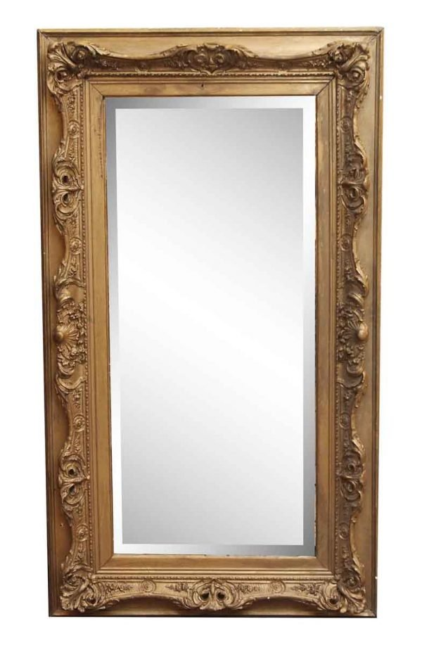 Gilded Wood Mirror with Beveled Glass - Antique Mirrors