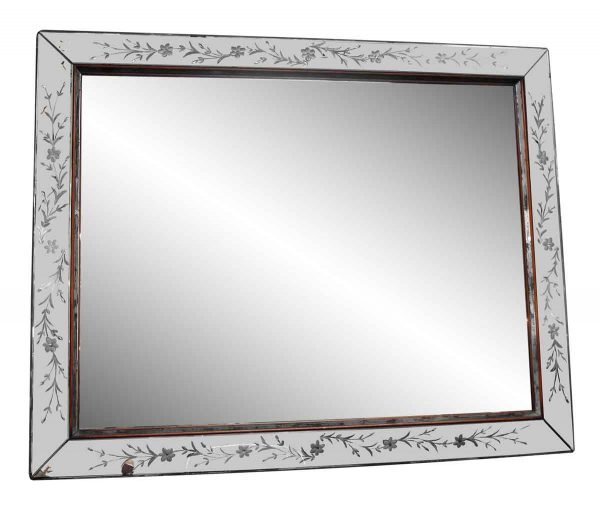 Large Etched Rectangular Wall Mirror - Antique Mirrors