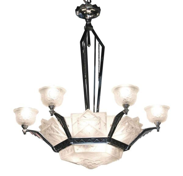 Six Arm Muller Freres Art Deco French Chandelier - Chandeliers