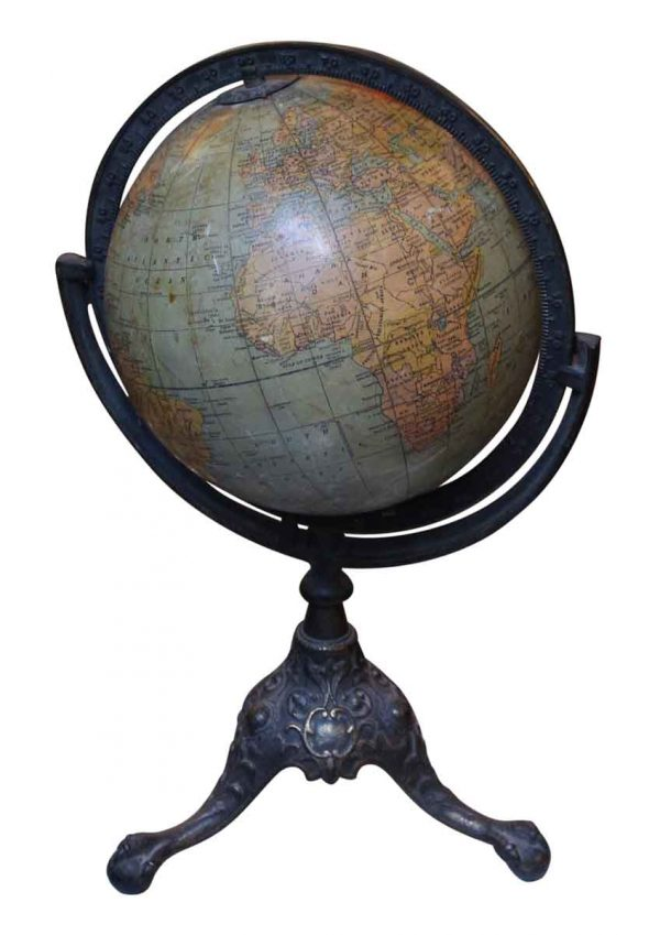 1910 Rand McNally Globe with Iron Claw Foot Stand - Globes & Maps