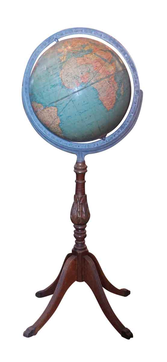 Vintage Globe with Carved Wood Stand - Globes & Maps