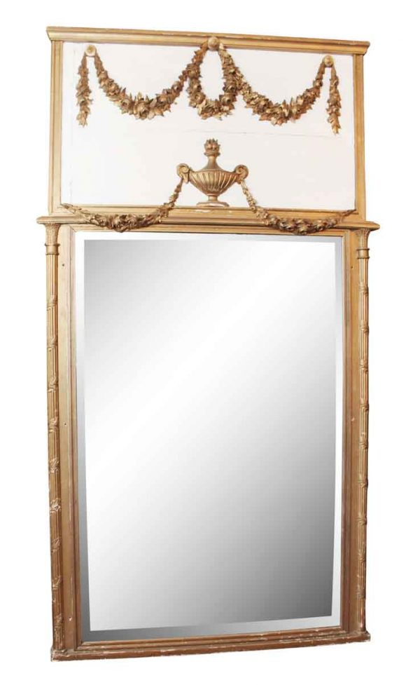 Trumeau Mirror with Gold Painted Frame - Overmantels & Mirrors