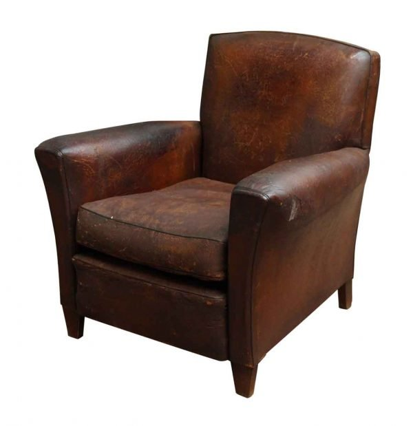 Distressed Leather Club Chair - Living Room