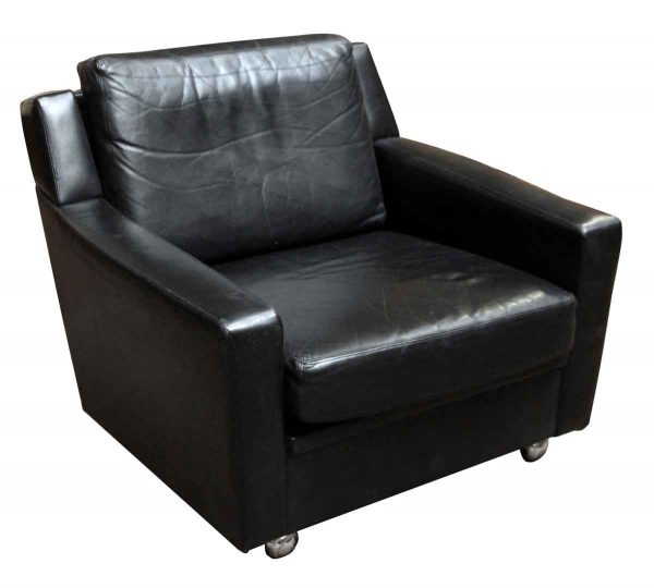 Pair of Black Leather Chairs - Living Room