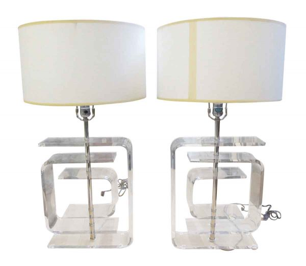 Pair of Lucite table lamps - Table Lamps