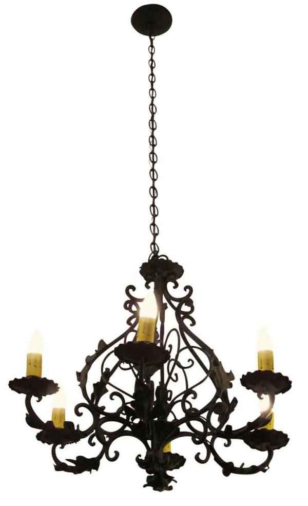 Iron Six Light Chandelier - Chandeliers