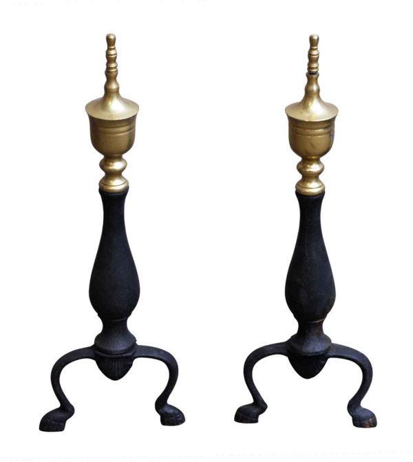 Pair of Andirons with Brass Finials - Andirons