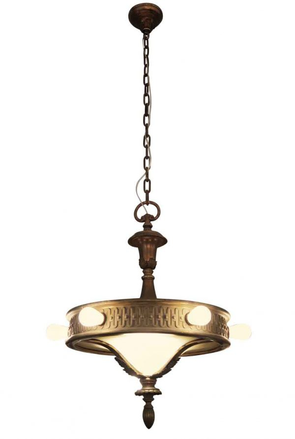 Six Bulb Bronze & Glass Chandelier - Down Lights