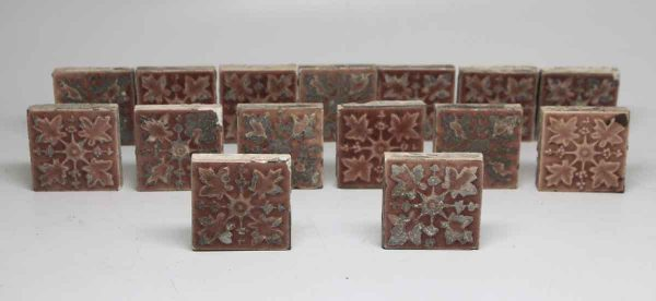 Set of 15 Small Pink Floral Tiles - Wall Tiles