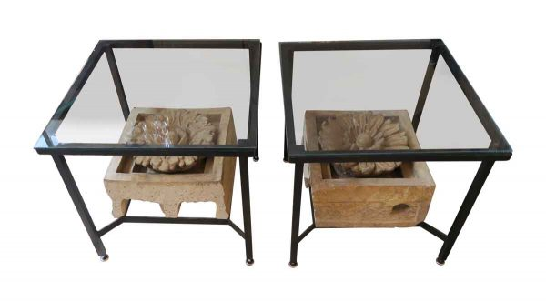 Pair of Metal End Tables with Floral Stone - Altered Antiques