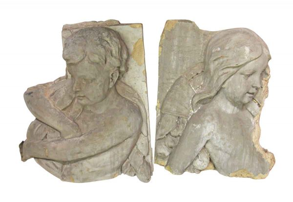 Historic Pair of Boy and Girl Figures from a Terra Cotta Frieze - Stone & Terra Cotta
