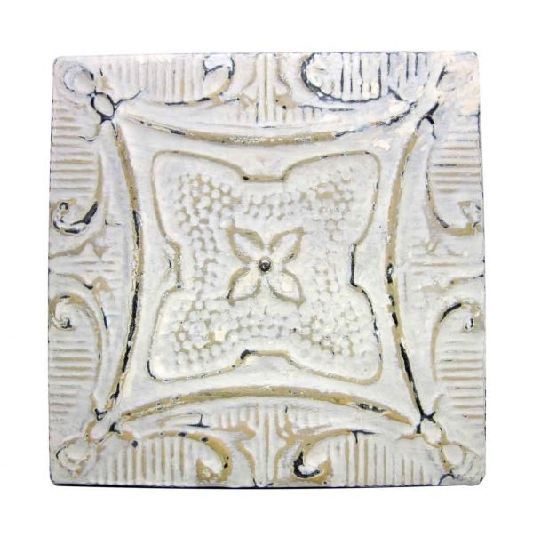 White & Tan 4 Leaf Tin Panel - Tin Panels
