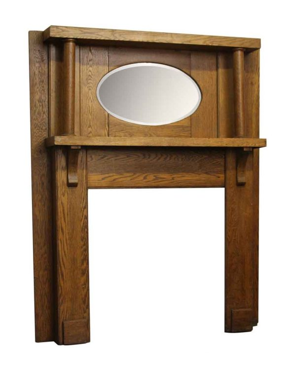 Simple Oak Mantel with Oval Beveled Mirror - Mantels