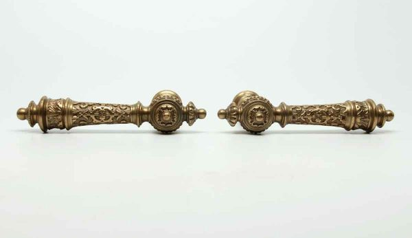 Pair of Gilded Bronze Ornate French Lever Knobs - Levers