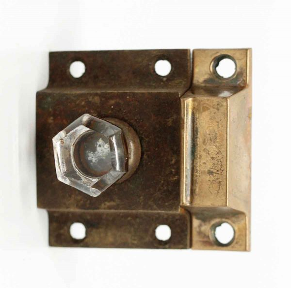 Single Bronze Cabinet Latch with Glass Pull - Cabinet & Furniture Latches