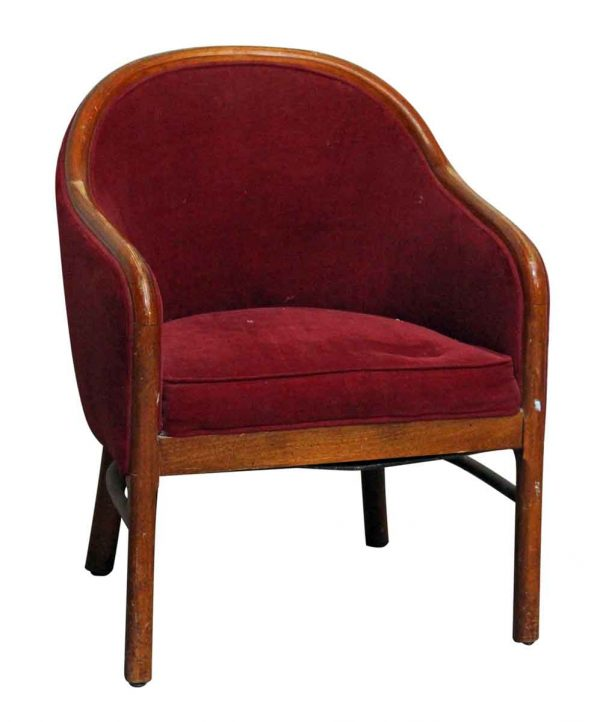 Red Velour Upholstered Chair - Seating