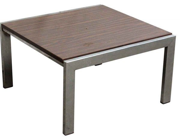 Wood Coffee Table with Steel Base - Living Room