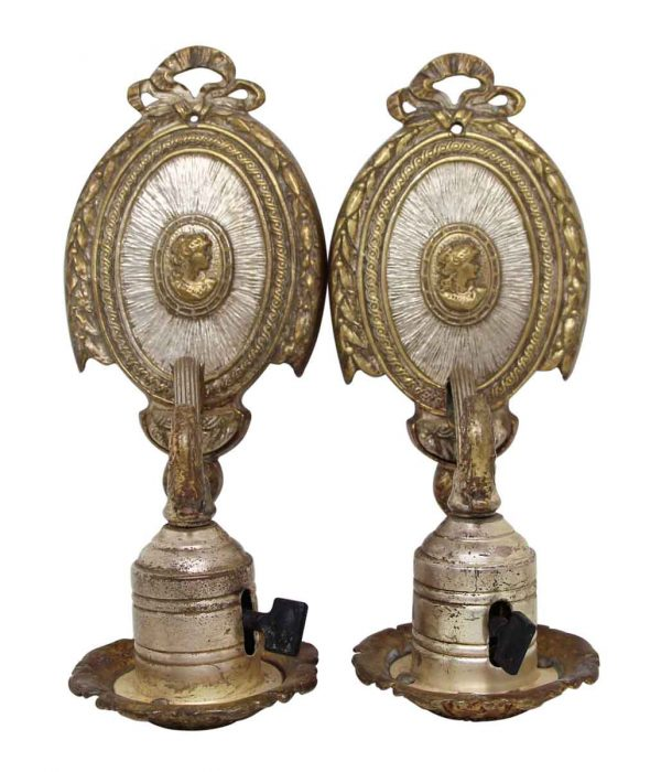 Pair of Silver Plated Brass Victorian Sconces - Sconces & Wall Lighting