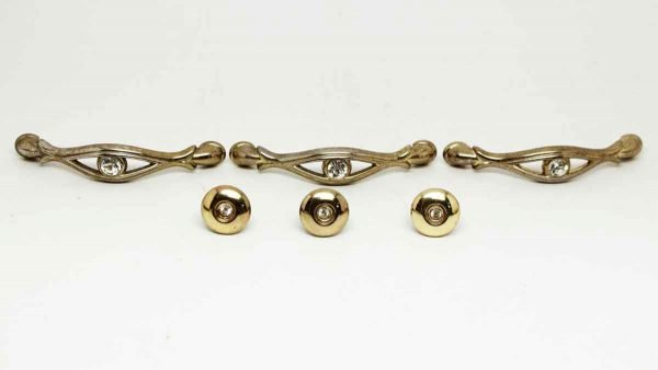Set of Six Brass Pulls with Jewel Detail - Cabinet & Furniture Knobs