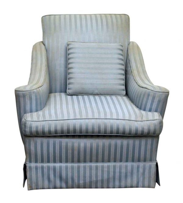 Blue Striped Fabric Arm Chair - Living Room