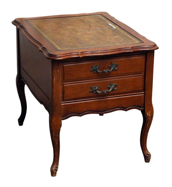 Leather Top French Side Table - Bedroom