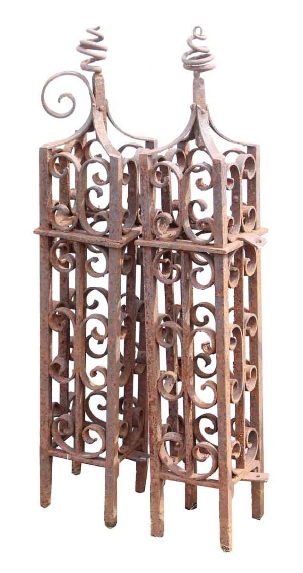Pair of Scrolled Wrought Iron Newel Posts - Fencing