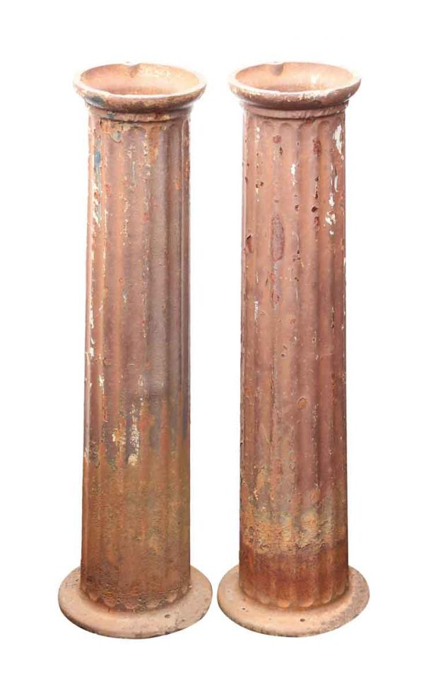 Pair of Fluted Cast Iron Petite Pedestals or Columns - Columns & Pilasters