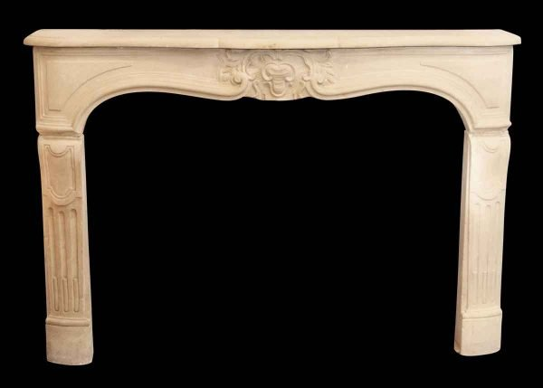 Limestone Mantel with Carved Details - Mantels
